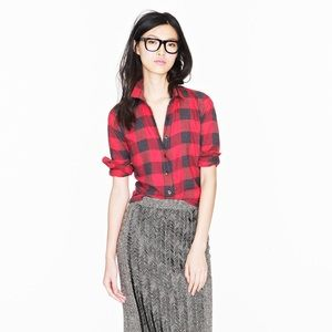 J Crew Perfect Shirt in Red Buffalo Check Plaid